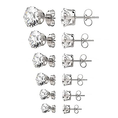 UHIBROS Womens Stainless Steel Stud Earrings Set Hypoallergenic Pierced Cubic Zirconia 6 Pairs 3-8mm from UHIBROS