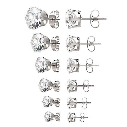 - UHIBROS Womens Stainless Steel Stud Earrings Set Hypoallergenic Pierced Cubic Zirconia 18K White Gold pated 6 Pairs 3-8mm