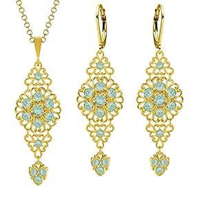 Lucia Costin Plata, Verde, Azul Crystal Jewelry Set con triángulos