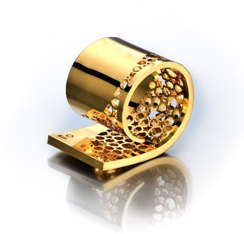 18K Gold and Titanium Plated Arabesque Napkin Ring Holder Set Of (Plated Titanium Mesh)