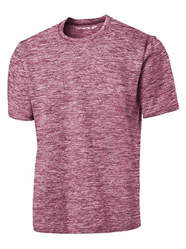 DRIEQUIP Men's Short Sleeve Moisture Wicking T-Shirt-ElectricMaroon-2XL ()