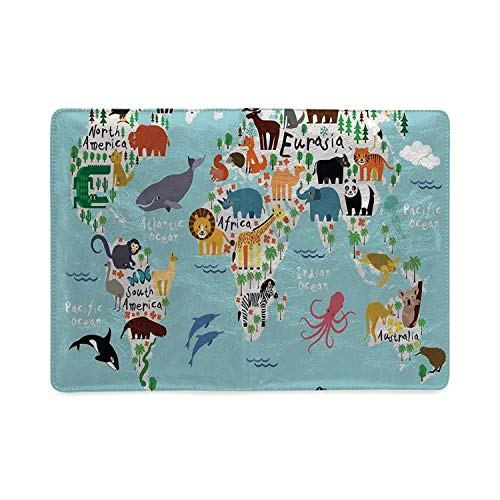 Kids Utility Notebooks,Educational World Map Africa Camel America Lama Alligator Ocean Australia Koala Print Decorative for Work,5.82