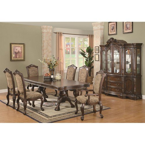 Andrea 7 Piece Double Pedestal Dining Table and Cushion Back Chair Set