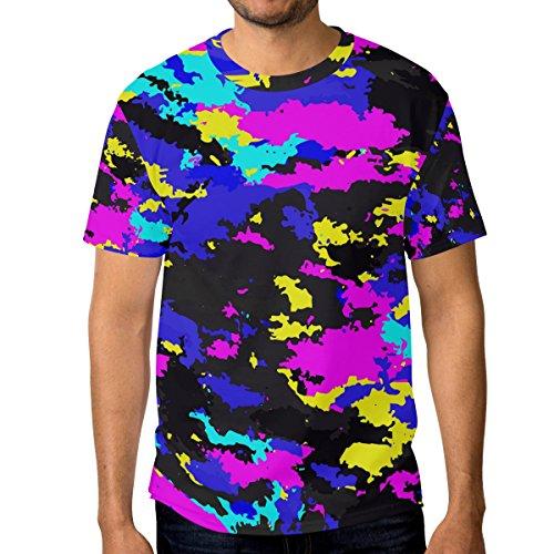 Men Colorful Camouflage T-Shirt Printed Short-Sleeve Crewneck Fan S Tee Shirt