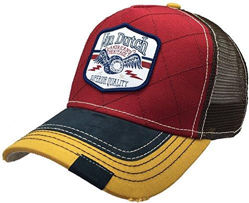 f9f7ed245ed Von Dutch 256 Quilt Trucker Hat Baseball Mesh Cap with Logo Patch Shield  Marroon Quilt (