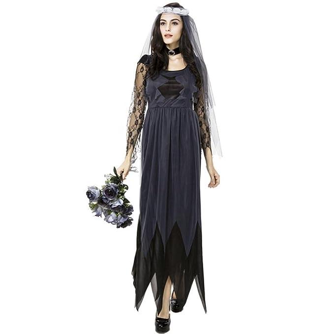 iBaste Disfraces de Halloween Negro Vestidos Largos Mujer Lace Gauze Edge Vestido de Novia Fantasma Ropa