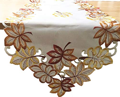 DECOHOMEAY Fashions Bountiful Leaf Embroidered Cutwork Fall Table Runner, (13 x 53