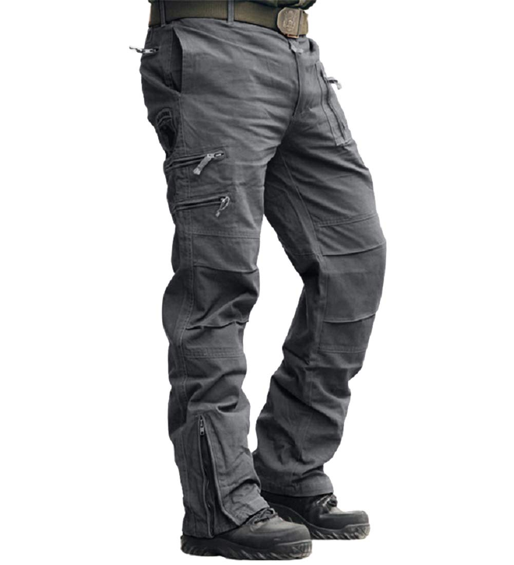 CRYSULLY Men's Casual Trousers Cotton Wild Cargo Pant Combat Wear Work Pants with Zipper Assault Pants Grey