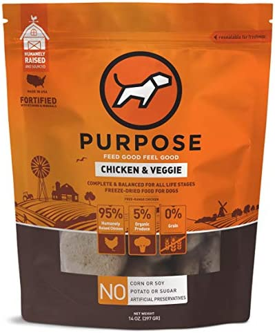 PURPOSE Freeze-Dried Raw Dog Food with Organic Produce 14 oz.