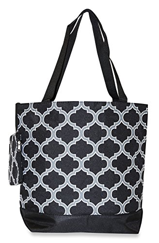 Price comparison product image Ever Moda Moroccan Collection Tote Bag, Large 17-inch (Moroccan - Grey Black)