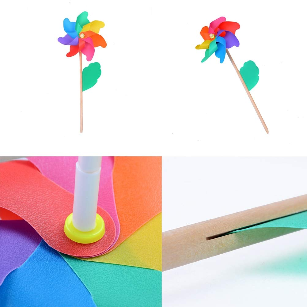 KathShop Plastic Windmill Pinwheel Self-Assembly Colorful Windmill ren's Toys Home Garden Yard Decor Outdoor Toy