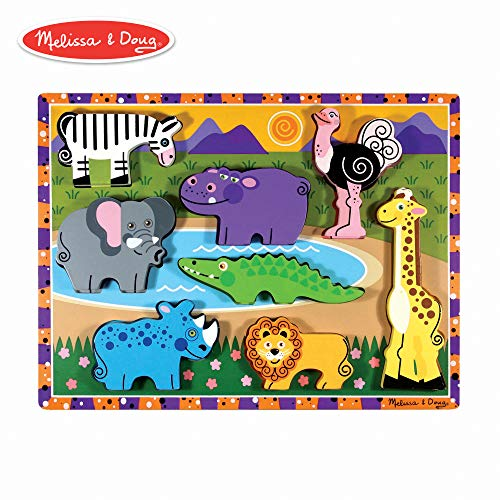 (Melissa & Doug Safari Wooden Chunky Puzzle (Preschool, Chunky Wooden Pieces, Full-Color Pictures, 8 Pieces))