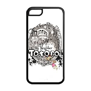 5C Case, iPhone 5C Case - Fashion Style New Anime My Neighbor Totoro Painted Pattern TPU Soft Cover Case for iPhone 5C (Black/white) WANGJING JINDA