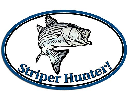 MAGNET 3x5 inch Oval STRIPER HUNTER Sticker -decal fish fishing striped bass rod fisher Magnetic vinyl bumper sticker sticks to any metal fridge, car, signs