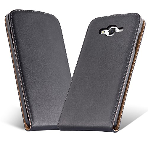 Cadorabo Case works with Samsung Galaxy J7 2015 (5) in CAVIAR BLACK (Design FLIP SMOOTH) – with 2 Card Slots – Case Etui Cover Pouch PU Leather Flip