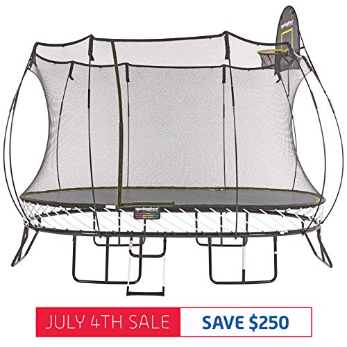 Springfree Trampoline - 8x13ft Large Oval Trampoline With Basketball Hoop and Ladder 8' Composite Safety Toe