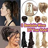 12' Messy Bendable Clip in on Ponytail Extensions Synthetic Hair Fluffy with Adjustable Wire for Women 4A Brown