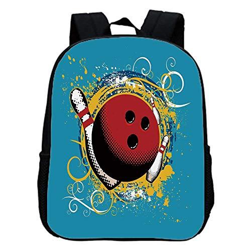 Bowling Party Decorations Fashion Kindergarten Shoulder Bag,Fun Hobby Retro Ball Floral Swirls Color Splashes Pop Art For ()