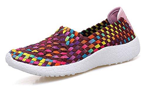 Noblespirit Womens Ultra Lichtgewicht Multicolor Geweven Mode Sneakers Rood