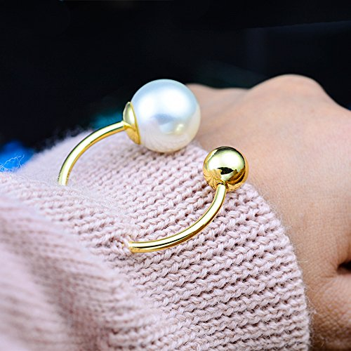 Spiral double word pintle grade metal Cuff women girls pearl brooch sweater brooch pin rotatably clasp -