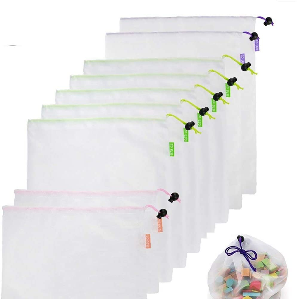 Reusable Mesh Produce Bags Lightweight Washable and See Through Mesh Shopping Merchandise Bags with Drawstring—9PCs