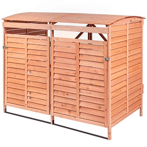 Leisure Zone Outdoor Wooden Storage Sheds Fir Wood Lockers with Workstation (Design 7)