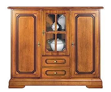 Credenza Cucina Con Vetrina : Credenza alta da cucina in legno colore ciliegio con anta a vetrina
