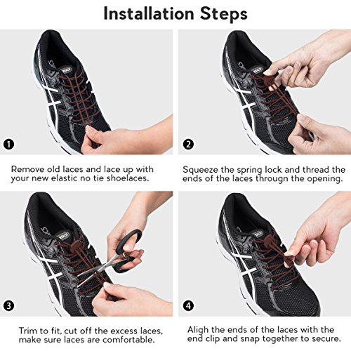 Running Reflective Shoe No Climbing Running 3 with Shoes and Lacing Hiking for Quick Adults System Tie Shoelaces for Laces Kids Lock Pairs Elastic Brown qZwntR5Ow