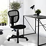 Homycasa Rolling Armless Task Chair Kids Study Desk Chair Fabric Upholstery Seat, Black For Sale