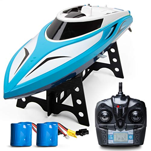 Remote Control Boats for Pools and Lakes - H102 Remote Controlled RC Boats for Kids or Adults, Self Righting High Speed Boat Toys for Boys or Girls]()