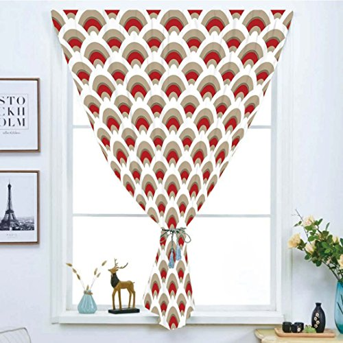 VANKINE Blackout Window Shades,Free Punching Magic Stickers Curtain,Abstract,Oriental Scallop Pattern Inspired by Traditional Moroccan Arabesque Art Design,Red Tan White,Paste Style,for Living Room