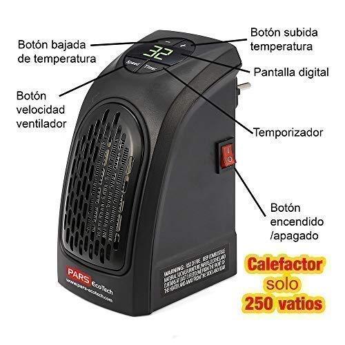 PARS EcoTech 250w Calefactor BAJO Consumo A+++ con Mando, Compacto y Portátil, para 20m2, para Casas, Baños, Habitaciones, Oficinas (Oferta de Invierno: más ...