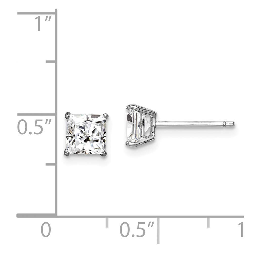 Sterling Silver CZ Cubic Zirconia 5mm Square Post Earrings