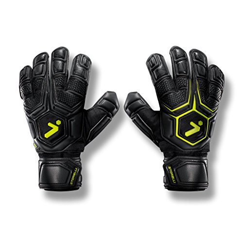 Storelli Gladiator Pro 2 Goalkeeper Gloves |High Perfomance Soccer  Goalkeeper  Gloves |Highest Grade German Latex |Sweat-Wicking|Black ()