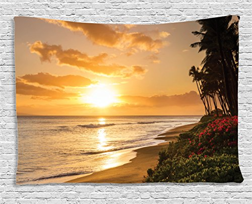 Ambesonne Hawaiian Decorations Tapestry, Warm Tropical Sunset on Sands of Kaanapali Beach in Maui Hawaii Destination for Travel, Wall Hanging for Bedroom Living Room Dorm, 60 W X 40 L Inches