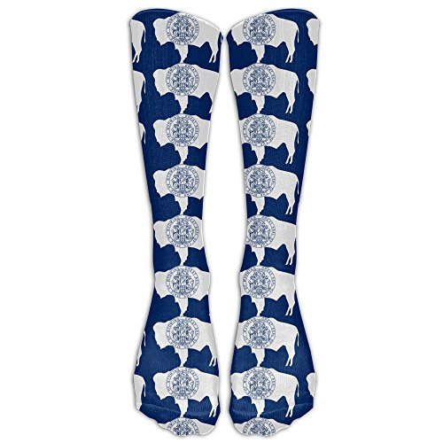 Wyoming State Flag Athletic Tube Stockings Women's Men's Classics Knee High Socks Sport Long Sock One Size