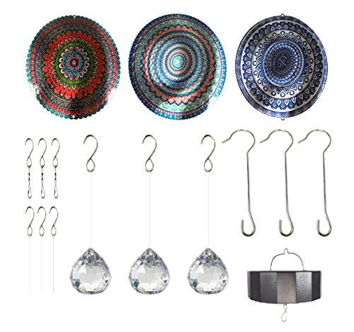 - WorldaWhirl Whirligig 3D Wind Spinner Hand Painted Stainless Steel Twister Mandala (6.5 Inch Set of 3 with Intermittent, Multi Color Mix)