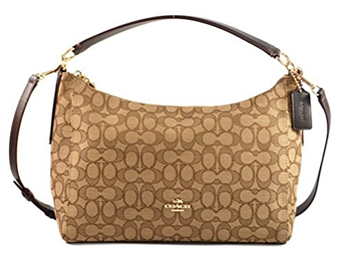 Coach East/West Celeste Convertible Hobo in Outline Signature (Khaki/Brown) - F54936 IMC7C by Coach