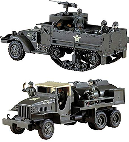 2 Hasegawa WW2 US Military Assembly Models - GMC CCKW-353 Gasoline Tank Truck & M3A1 Half Track (Japan Import)
