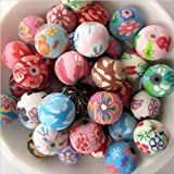 Beading Station 100-Piece BSI Colorful Polymer Clay Round Beads, 8mm