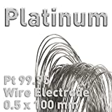 Platinum Wire, Dia 0.5mm x L. 100mm, Electrode for Electrolysis, Polymet Galvanotech