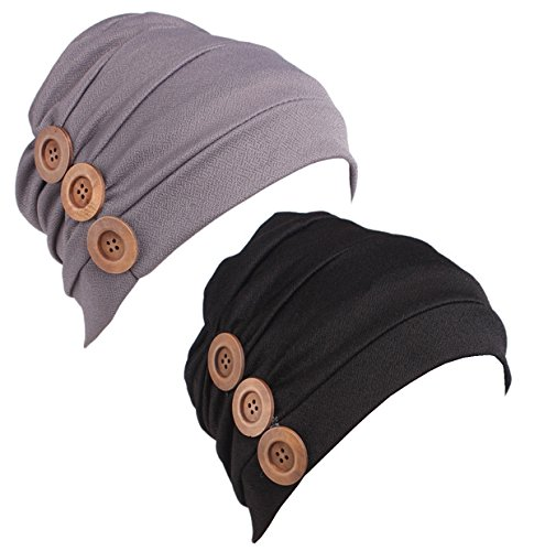 HONENNA Women Chemo Turban Headband Scarf Slouchy Beanie Cap Hat for Cancer Patient ... (New Black+Grey, One Size)