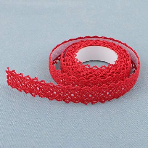 P Prettyia リボン レーステープ スクラップブッキング用 カード用 手芸材料 装飾用 アクセサリー 赤