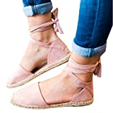 #2: Syktkmx Womens Espadrilles Lace up Flat Platform Ankle Strap Wrap Summer D'Orsay Sandals