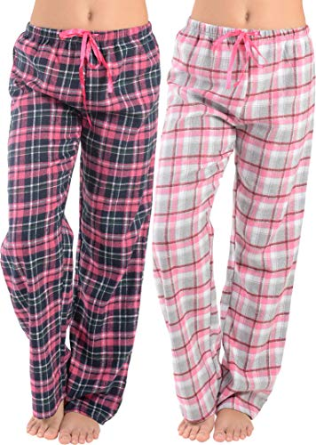 - Women Flannel Lounge Pants-2 Pack-Plaid Pajama Pants Cotton Blend Pajama Bottoms(Black Pink & Pink Grey, Medium)