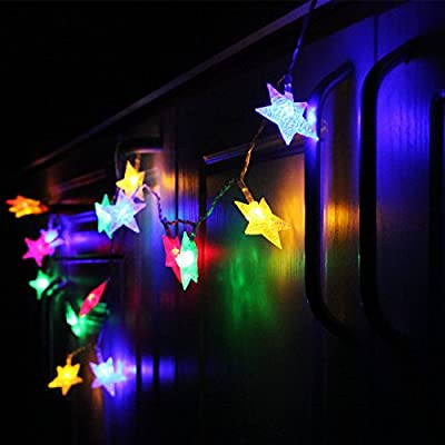 Star Battery Operated LED Christmas String Lights - RGBY, 2 Work Modes, 7.3ft Length, 20pcs Stars for Christmas, Holiday, Party, Event Decorative Lighting