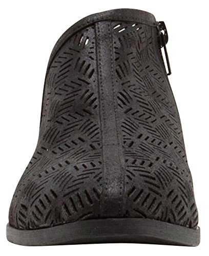 Ankle Side Chunky Bootie Perforated Low Black Cambridge Women's Shootie Heel Block Cut Out Select pwEqP