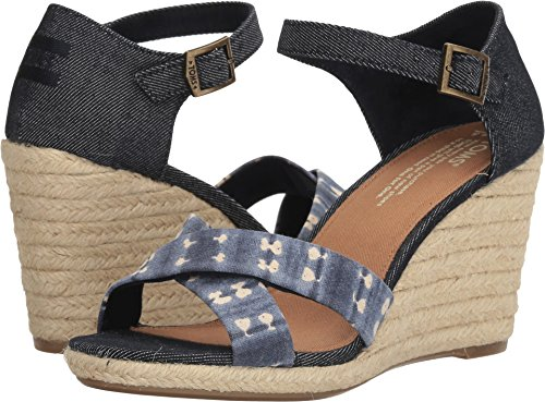 (TOMS Women's Sienna Wedge Navy Batik Stripe/Denim 9.5 B US)