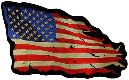 (Tattered US American Flag Large Back PATCH - Color - Veteran Owned Business.)