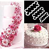 3pcs Cake Decoration Mold, DIY One-Piece Molded Fondant Roses Printing Mould Tool Set, Food Grade Cutter Modeling Tools for Christmas Party Wedding Cake in Mould Dessert Decorators Sugarcraft Sugar